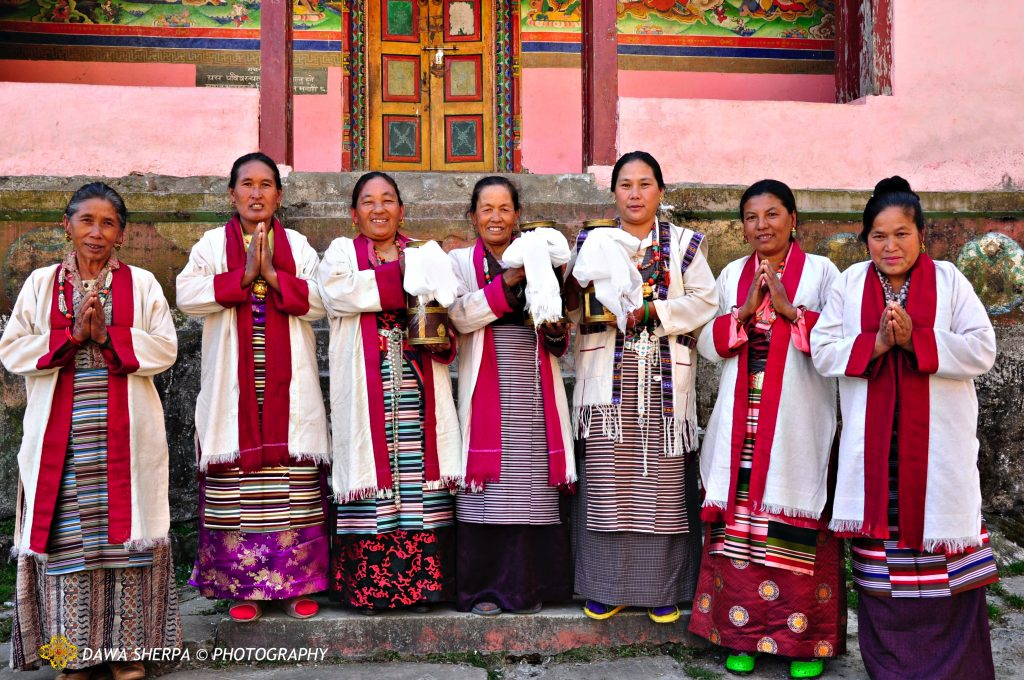 PIC- WOMEN GROUPS IN TRADITIONAL SHERPA CUSTOME FROM DAWA SHERPA'S VILLAGE